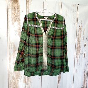 Plaid  peasant blouse with embroidery